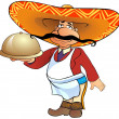 Mexican waiter with a tray — Stock Photo