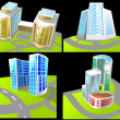 Stock Photo: Set of four buildings.
