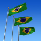 Three flags of Brazil against blue sky. 3d illustration. — Stock Photo