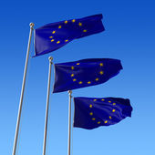 Three flags of Europe Union against blue sky. 3d illustration. — Stock Photo