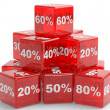 Red cubes with percents numbers — Stock Photo