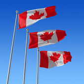 Three flags of Canada against blue sky. 3d illustration. — Stock Photo
