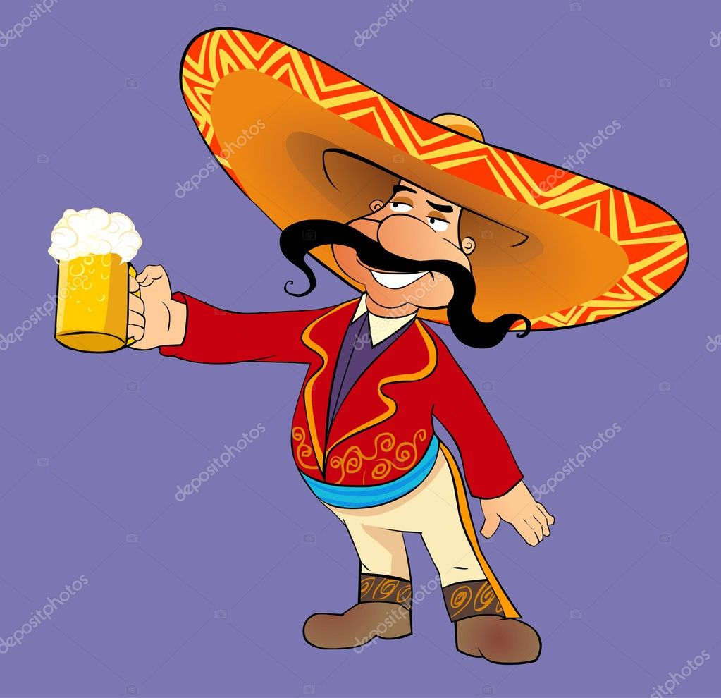 Cartoon illustration of Mexican man with a mug of beer. — Stock Photo #5026797
