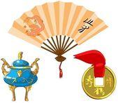 Set of traditional Chinese symbols. — Stock Photo