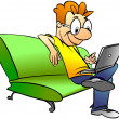 Man sitting on sofa with laptop — Stock Photo