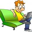 Man sitting on sofa with laptop — Stock Photo #5209904