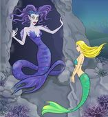 Fairy tale 6. Mermaid and witch. — Stock Photo