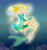 Fairy tale 7. Mermaid suprized by her legs. — Stock Photo