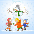 Happy kids and snowman celebrate Christmas. — Stock Photo