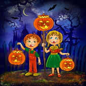Kids with pumpkins celebrate halloween. — Stockfoto