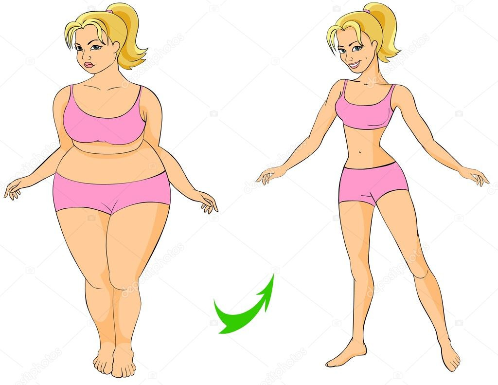 Illustration of Fat and thin woman (before and after fitness). — Stock Photo #5314427