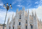 Milan Cathedral (Duomo di Milano; Milanese: Domm de Milan) the cathedral church of Milan in Lombardy, northern Italy. — Stock Photo