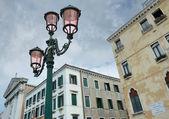 Streetlamp near to cathedral Santa Maria della Pieta on the Riva Degli Schiavoni in Venice, Italy. — Stock Photo