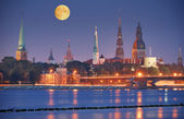 Riga in night. — Stock Photo