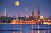 Riga in night. — Stock Photo