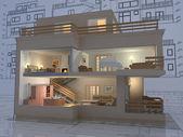 3d isometrisk vy i det skära bostadshus på arkitekt rita建築図面上カットの住宅の家の 3 d 等角投影ビュー. — Stockfoto