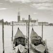 Two gondolas on the San Marco canal and Church of San Giorgio Maggiore in Venice, Italy. — Stock Photo #5358096