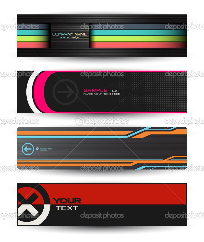 Vector abstract banners for web header stock illustration