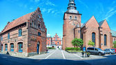 Ystad church panorama — Stock Photo
