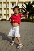 Child with hotel key — Foto de Stock
