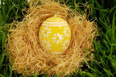 Painted easter egg in nest — Stock Photo