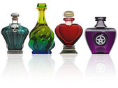 Samlingen av potion flaskor — Stockfoto