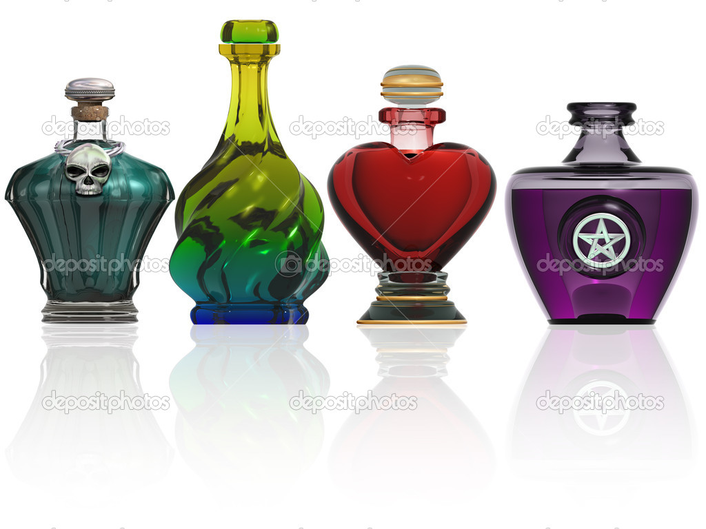 Illustration of various shaped bottles containing magic potions — Stock Photo #4276967