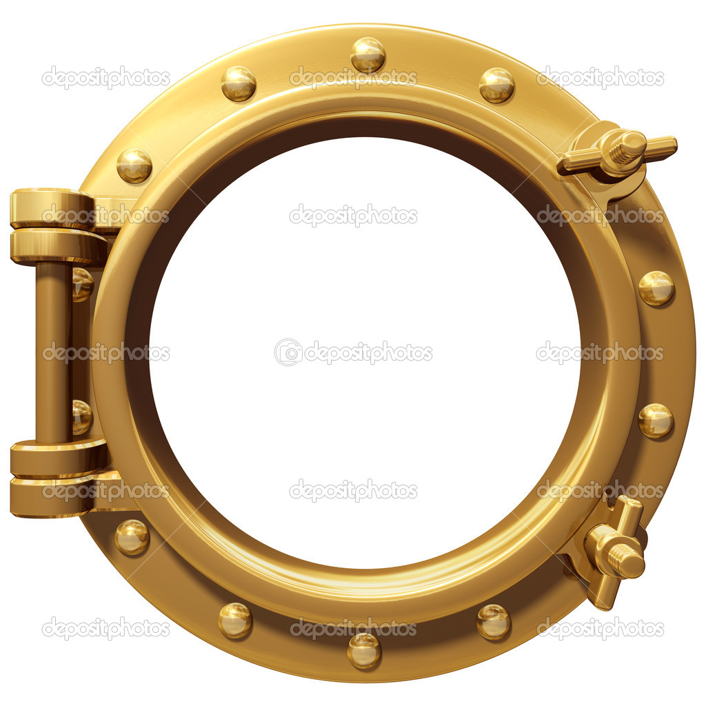 Illustration of a bronze ship porthole isolated on white  Stock Photo #4513418