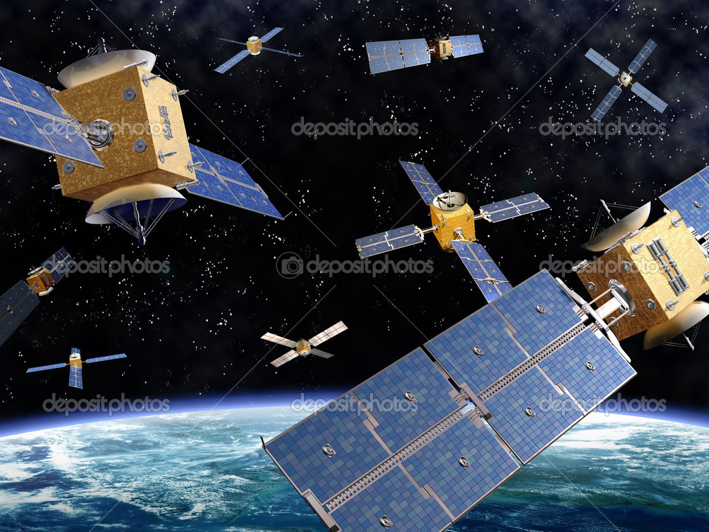 Illustration of competing satellites in orbit around the earth  Stock Photo #4900824