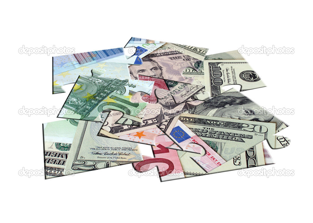 Heap of parts of jigsaw puzzle Moneyheap of parts of jigsaw puzzle Money — Stock Photo #4296977