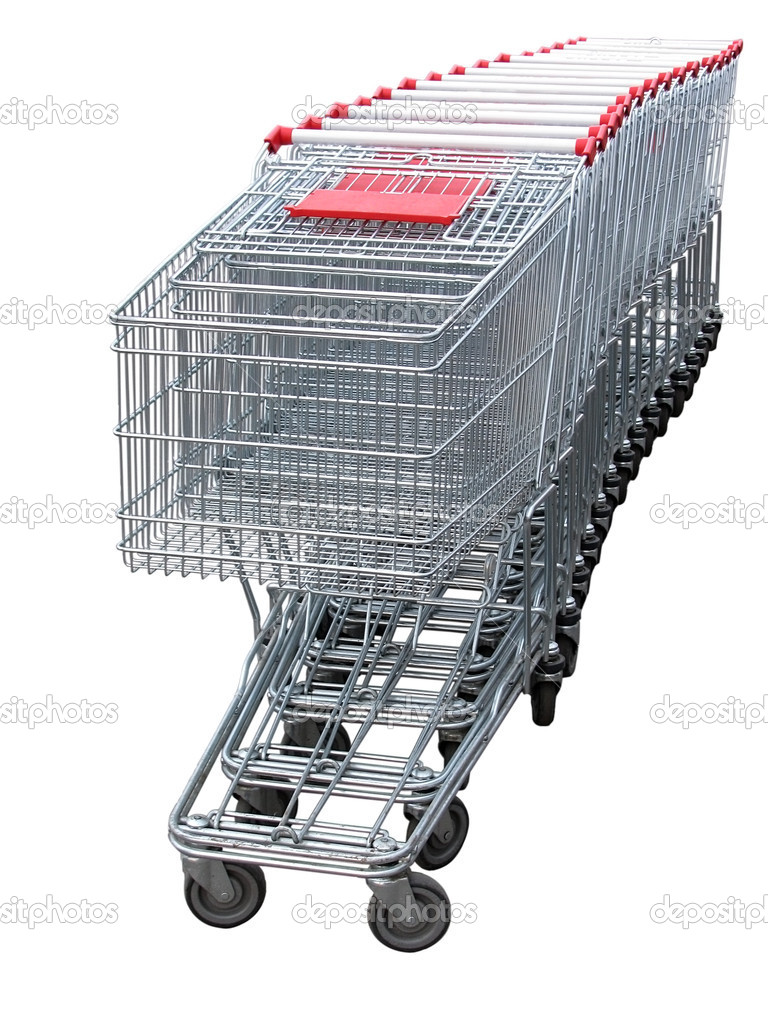 Several shopping carts  isolated  on white background                              — Stock Photo #4624117