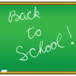 Back to school message on a chalkboard — Stock Vector