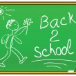 Back 2 school message on a chalkboard — Stock Vector