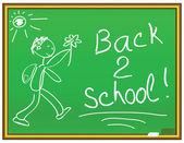 Back 2 school message on a chalkboard — Stock Vector