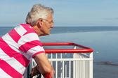 Homem idoso no barco — Fotografia Stock