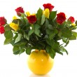 Stock Photo: Bouquet red and yellow roses