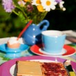 Breakfast in the garden — Stock Photo