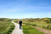 Ameland walking the dog — Stock Photo