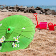 Tropical parasol at the beach — Stock Photo