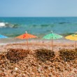 Colorful parasols for shade at the beach — Stock Photo