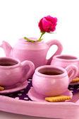 Pink handcraft crockery — Stock Photo