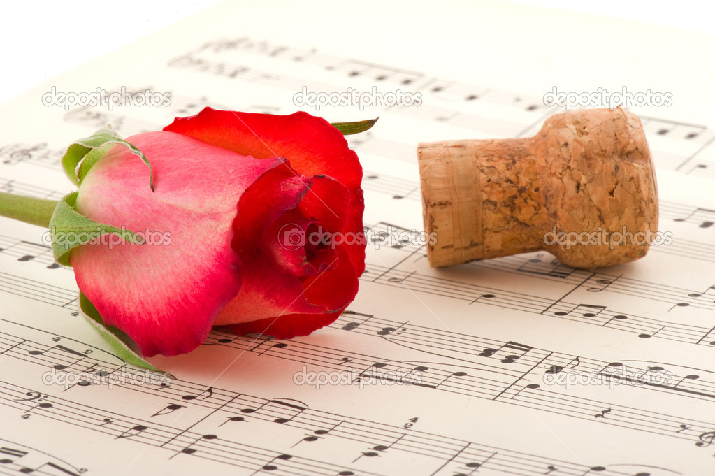 Romance with red rose champagne and music — Foto Stock #4175267