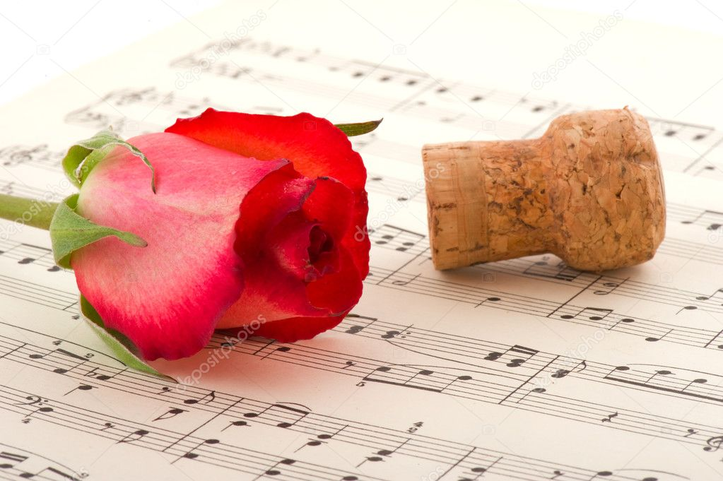 Romance with red rose champagne and music — Stok fotoğraf #4175267