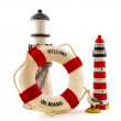 Royalty-Free Stock Photo: Lighthouse with life buoy