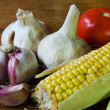 Garlic tomate and maize — Stock Photo
