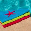 Stock Photo: Towels at the swimmingpool