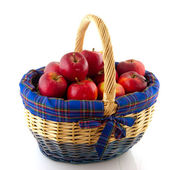 Wicked cane basket apples — Stock Photo