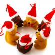 Christmas bears in a row — Stock Photo