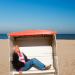 Stockfoto: Mis sleeping at beach