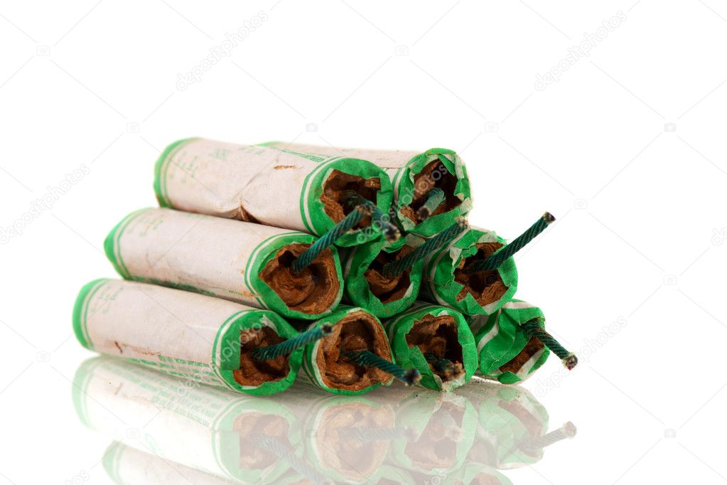 Dangerous firecrackers for much noise isolated over white — Foto Stock #4406451